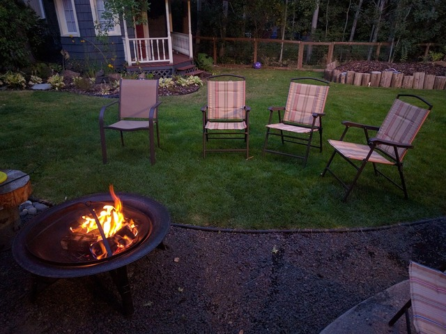 Backyard fire pit chairs.