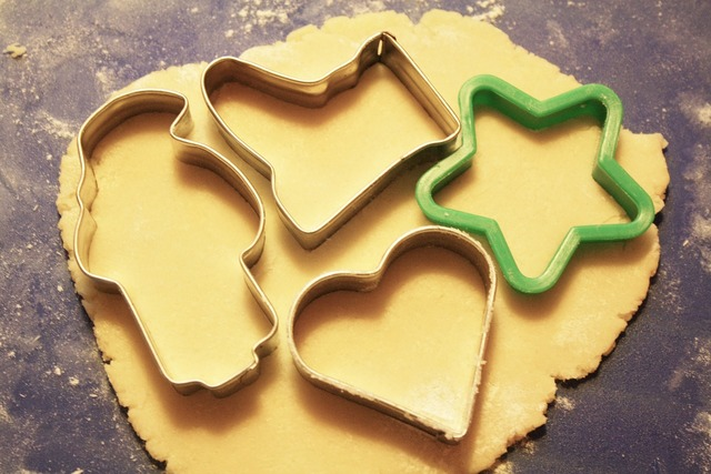 Baking cookies cookie cutters dough.
