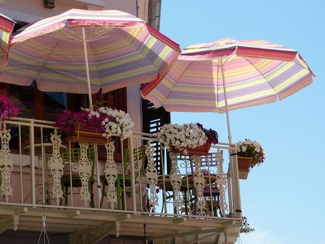Balcony parasol summer.