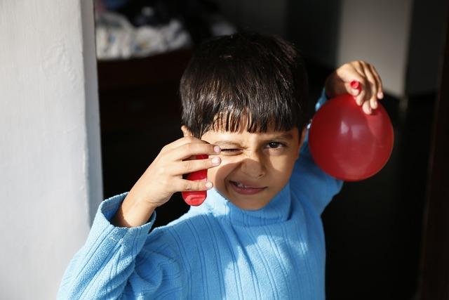 Balloon blue boy, people.