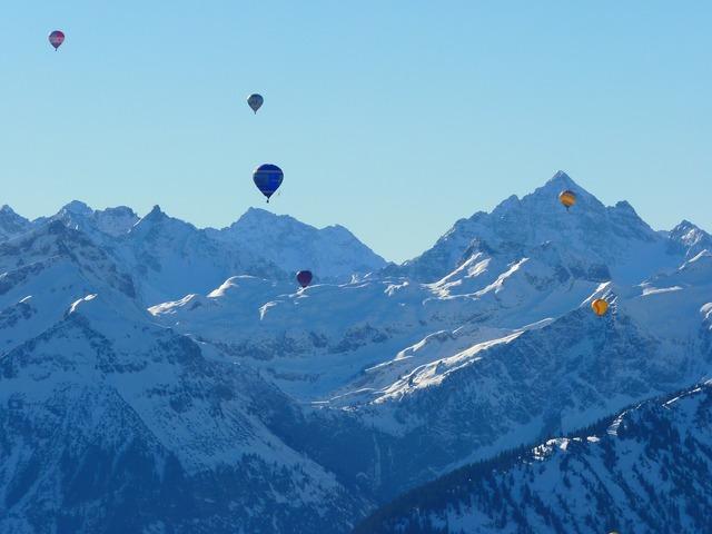 Balloon hot air balloon mountains.