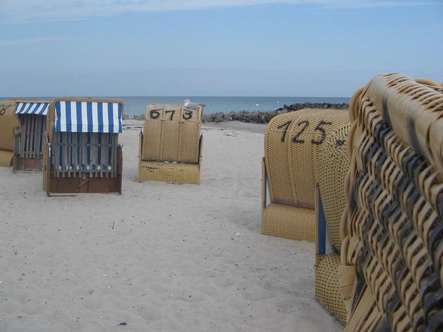 Baltic sea beach chair beach, travel vacation.