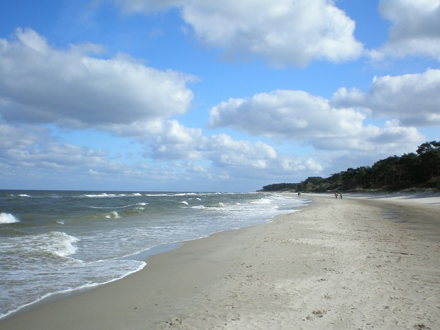 Baltic sea beach clouds, travel vacation.