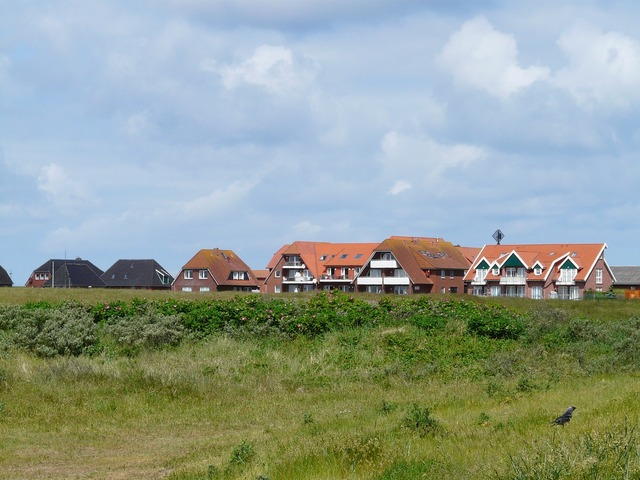 Baltrum north sea island, architecture buildings.