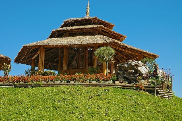 Bamboo hut rice straw roof thailand, religion.
