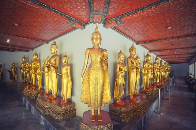 Bangkok buddha temple, religion.