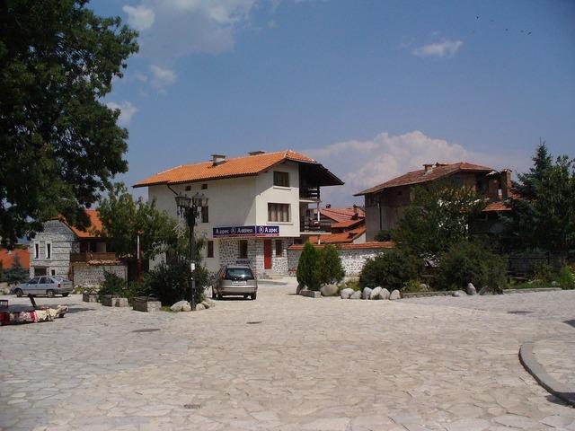 Bansko town square, architecture buildings.