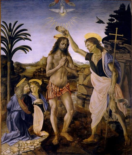 Baptism of christ leonardo de vinci andrea del verrocchio, religion.