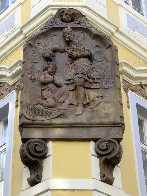 Baptism relief stone relief, religion.