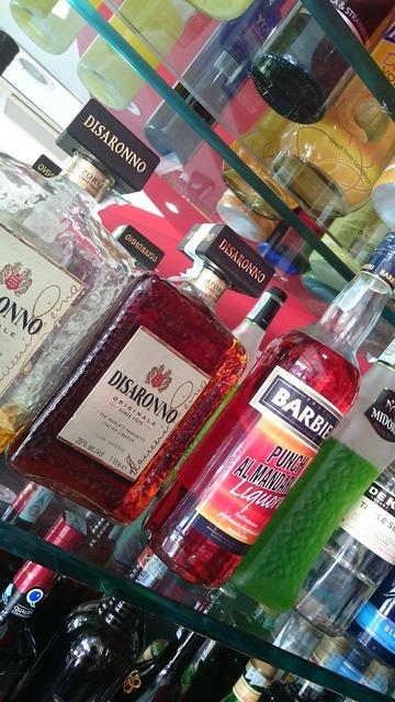 Bar bottles alcohol, food drink.
