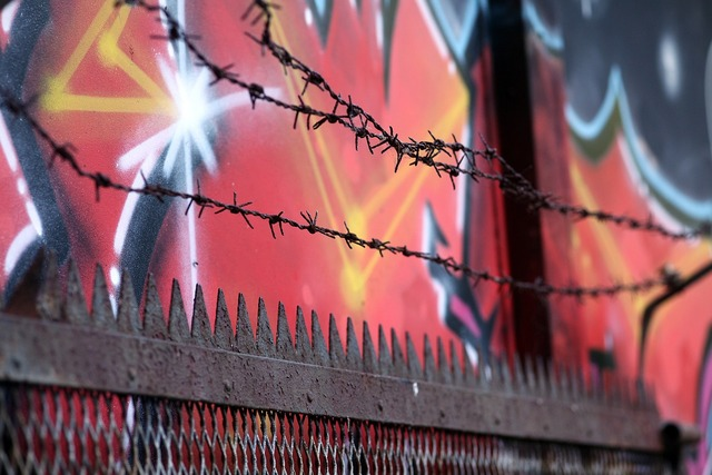 Barbed wire border fence.