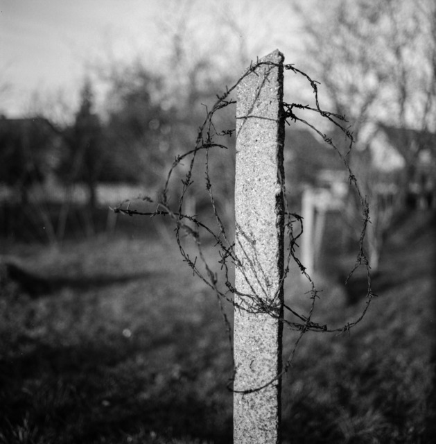 Barbed wire concrete black and white, industry craft.