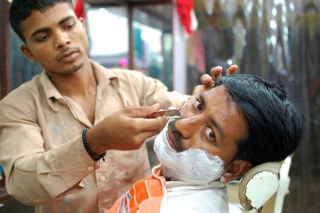 Barber street india, transportation traffic.