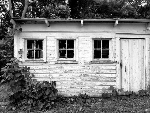 Barn hangar black and white.