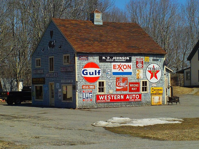 Barn signs advertising, architecture buildings.