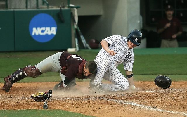 Baseball catcher action, sports.