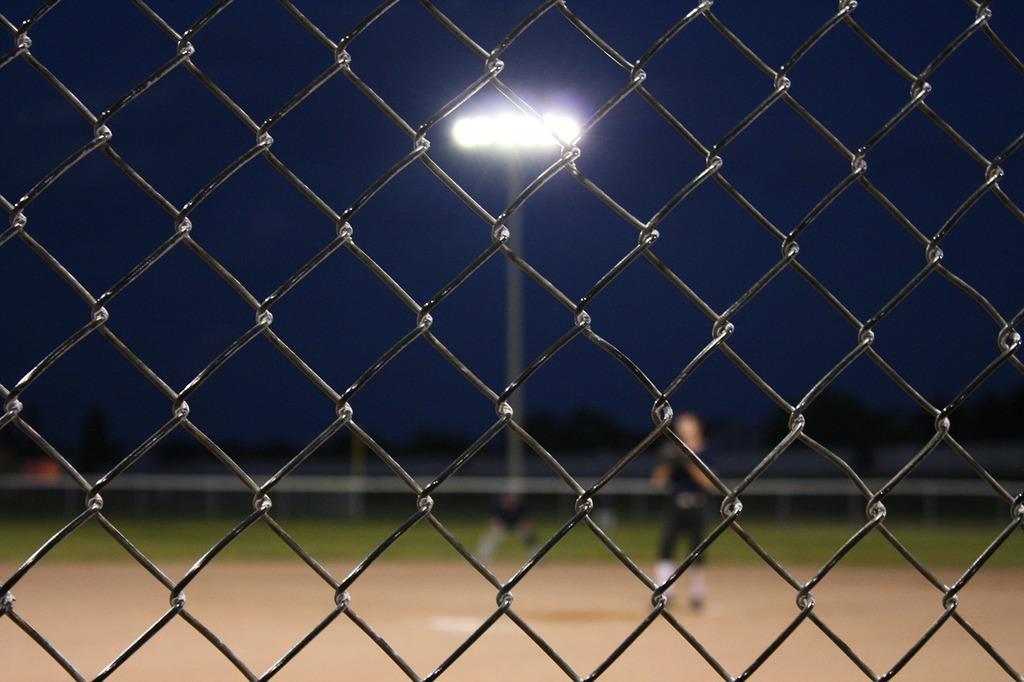 Baseball fence chain, sports.