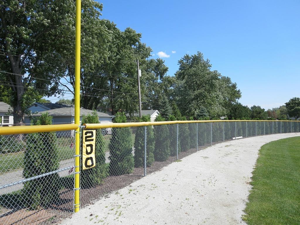 Baseball field fence, sports.