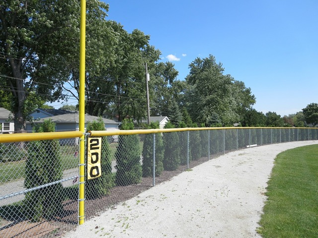 Baseball field fence, sports.