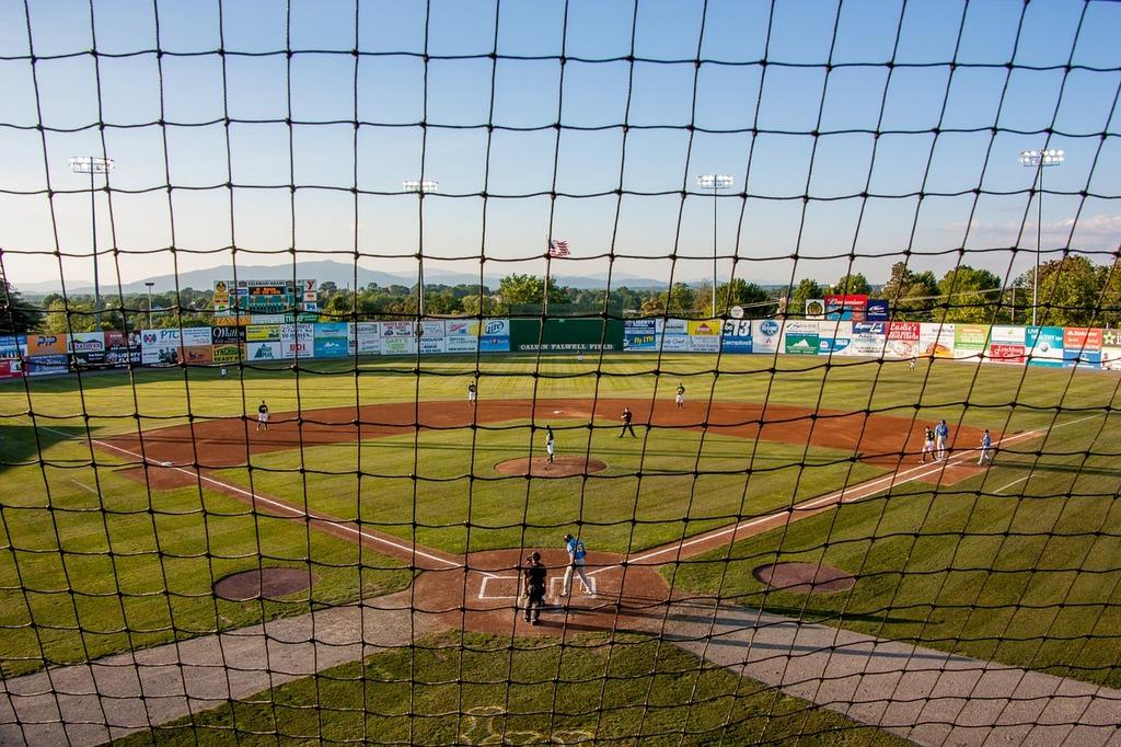 Baseball game net, sports.