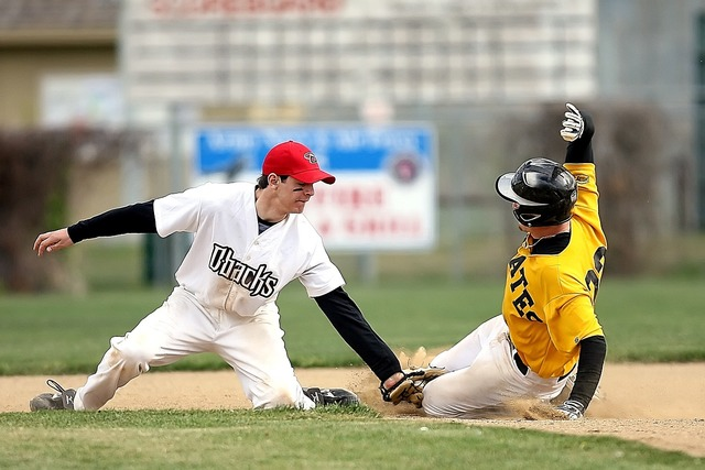 Baseball slide second base, sports.