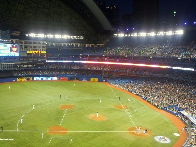 Baseball stadium dome, sports.