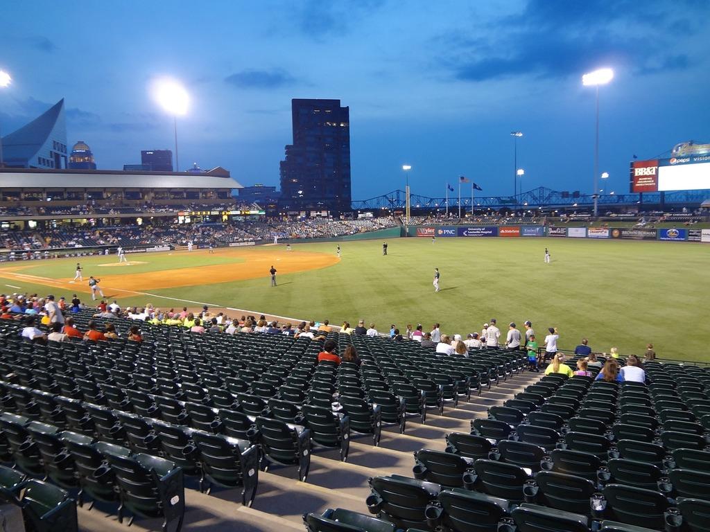 Baseball stadium field, sports.