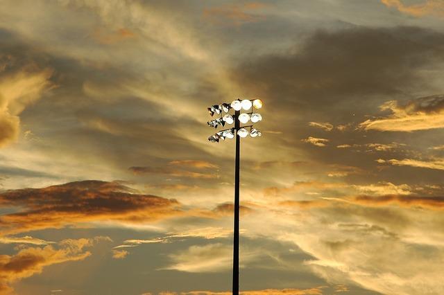 Baseball stadium lights, sports.