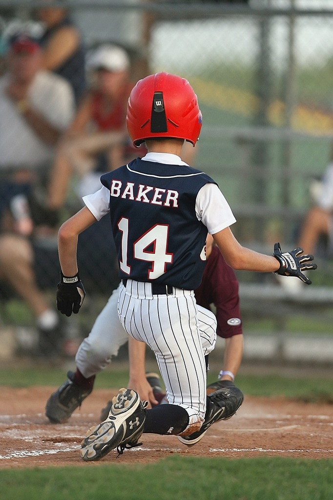 Baseball youth league runner, sports.