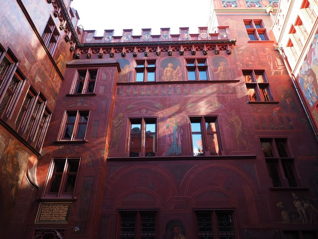 Basel city hall courtyard painting, architecture buildings.
