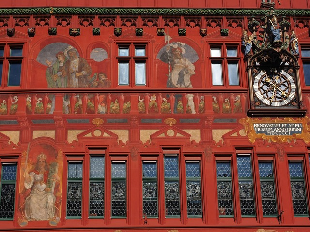 Basel city hall facade clock, architecture buildings.