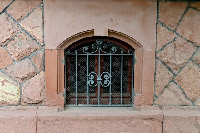 Basement lattice window art nouveau, architecture buildings.