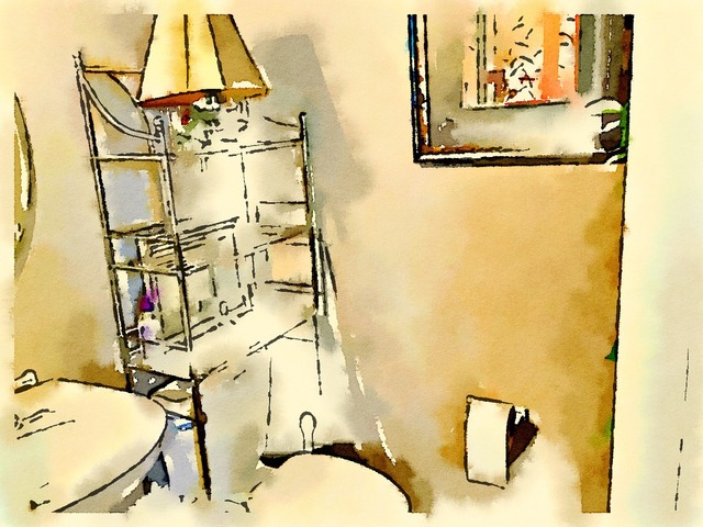 Bathroom watercolor drawing.