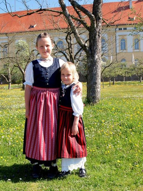 Bavarian kids girls, people.