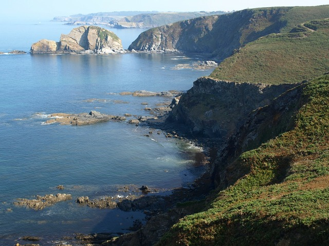 Bay of biscay rocks out asturias, nature landscapes.