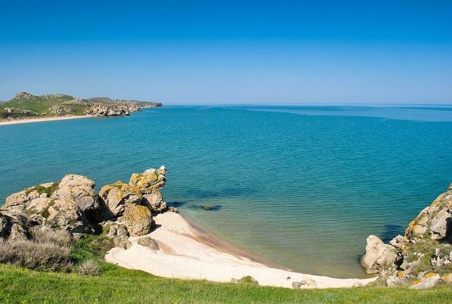 Bay sea beach, travel vacation.