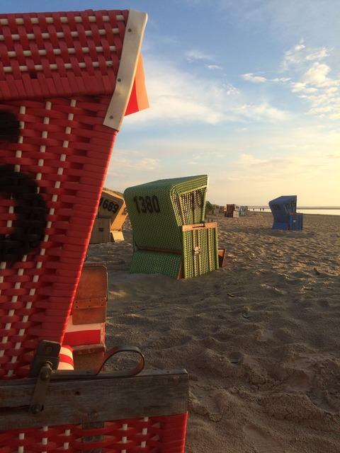 Beach beach chair evening light, travel vacation.