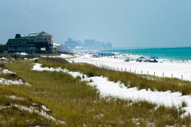 Beach beautiful buildings, travel vacation.