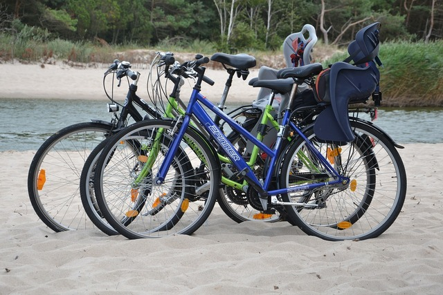 Beach bicycles active, travel vacation.