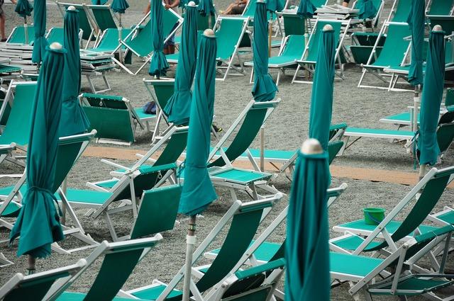 Beach bonassola umbrellas, travel vacation.