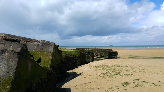 Beach bunker france, travel vacation.