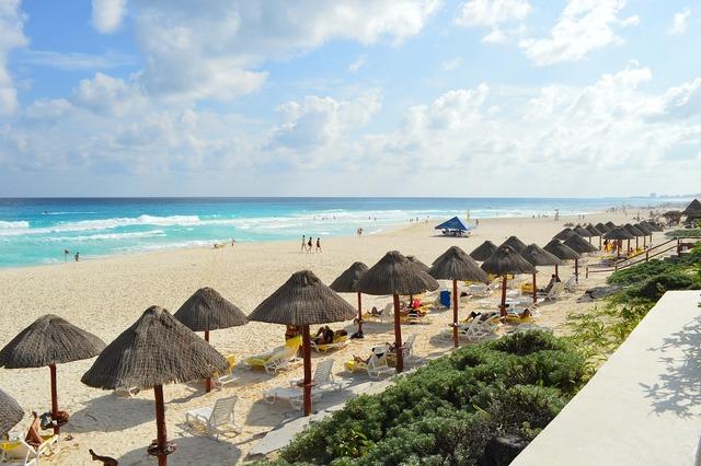 Beach cancun tourist, travel vacation.