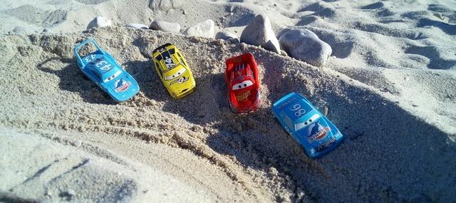 Beach car sand, travel vacation.