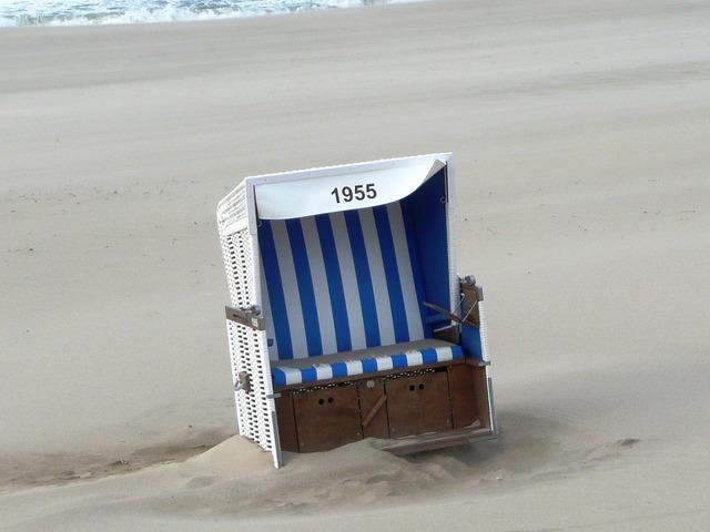 Beach chair forward sand, travel vacation.