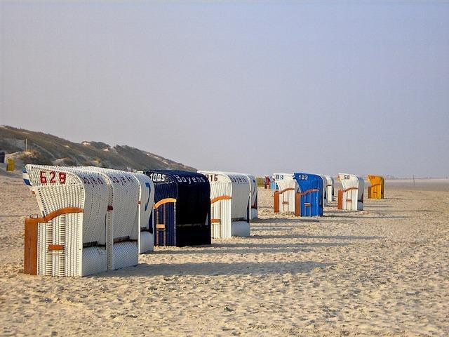 Beach chair holiday north sea, travel vacation.