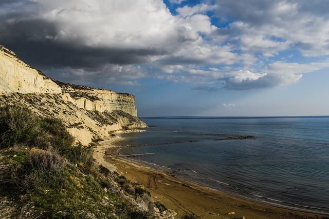 Beach cliffs sea, travel vacation.