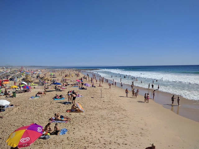Beach costa da caparica portugal, travel vacation.