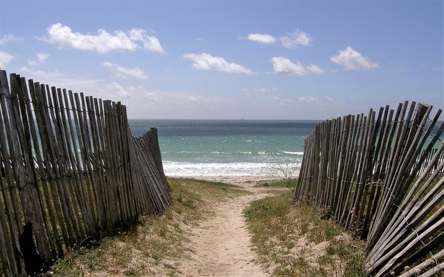 Beach fences brittany, travel vacation.