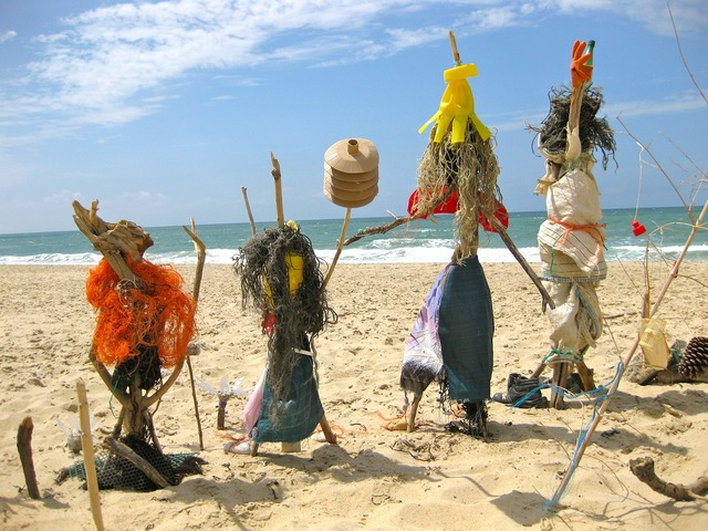 Beach figures scarecrows, travel vacation.