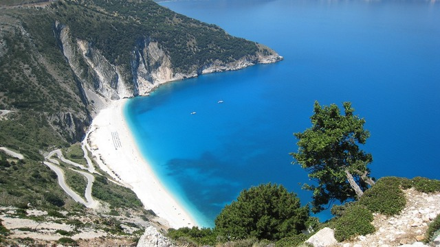 Beach greece island of kefalonia, travel vacation.